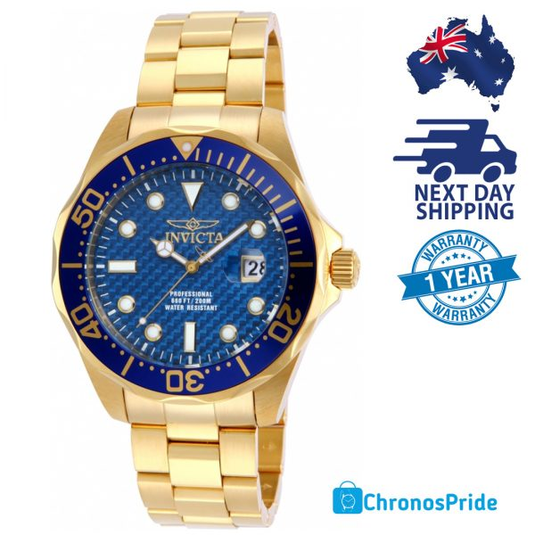 invicta men's 14357 pro diver 18k gold ion plated watch